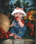 Samantha at six months, tasting the props.