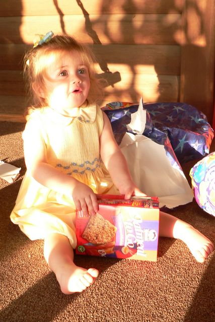 Despite Samantha's apparent enthusiam for Oatmeal To Go, she is actually making a pig noise in this photo.  And no, we don't give our daughter breakfast foods for presents.  The package was filled with little animals.