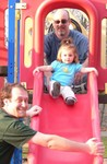Mom enjoyed having the boys lifting and catching Sam on the slide for a change!