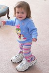 Samantha is determined to walk in Nana's shoes.  She spent 1/2 an hour struggling to take about 10 steps!